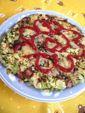 エコレシピ 残りご飯でピザ風お好み焼き
