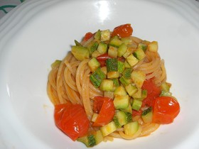 ズッキーニとミニトマトのパスタ