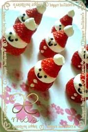 クリスマスケーキに!!苺サンタクロースの写真