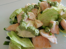 白身魚と温野菜サラダ★自家製バジルソース
