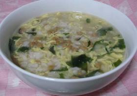 たまごスープで納豆雑炊♪