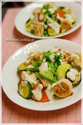 チキンと野菜のアンチョビクリームソース