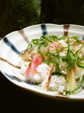 みょうが✿鯵の干物でちらし寿司