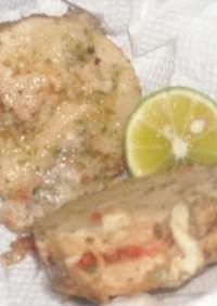 ししゃも卵入り鮭フレーク入り長芋の天ぷら