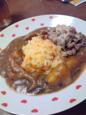 納豆好きのカレーの食べ方☆