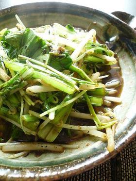 水菜ともやしの中華風シャキシャキ炒め。