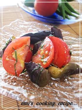 焦がしガーリックのトマトと茄子のマリネ