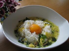 W卵のスープ飯♪