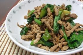 豚肉、シシトウ、青梗菜の豆板醤炒め
