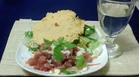 簡単マグロのタルタルとシーザーサラダ