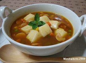 レンジで簡単おもちinカレースープ