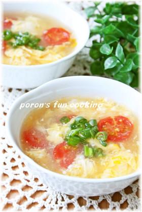 トマトと卵の酸辛湯(サンラータン)風