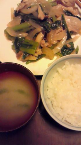 小松菜と豚肉の野菜炒め