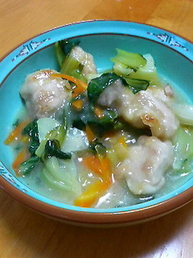 鶏肉とチンゲン菜の炒め煮