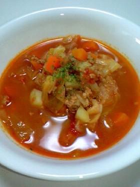 ロールキャベツみたいなトマト野菜スープ