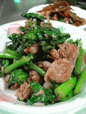菜の花と豚肉のショウガ炒め