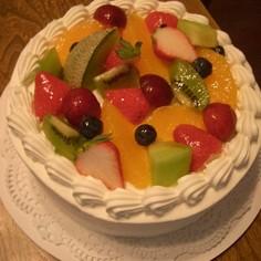 簡単☆果物たっぷり☆デコレーションケーキ