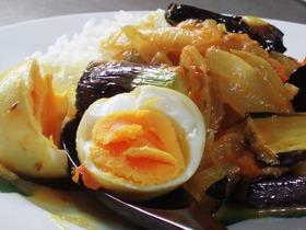 スパイスだけで作る茄子と茹で卵のカレー