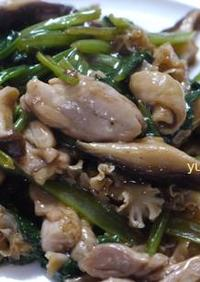 鶏肉の小松菜と花びら茸のオイスター炒め♪