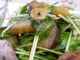 水菜とナスの温サラダ