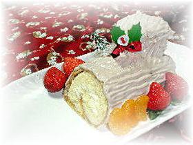 ホットケーキミックスで★「クリスマスロールケーキ」★