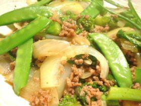 菜の花と新玉ねぎの春野菜炒め