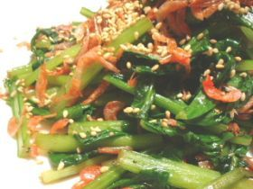 小松菜と桜えびのさっと炒め。