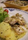 ポテトと太刀魚のハーブ粉焼き