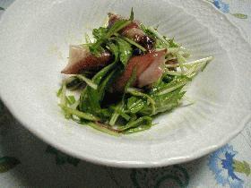 ほたるいかと水菜の酢味噌サラダ