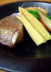 【旨】 鯛といんげんヤングコーンの塩煮