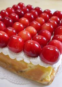 さくらんぼいっぱい♪ベイクドチーズケーキ