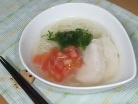 鶏のスープであっさり素麺