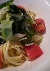 夏野菜たっぷり☆ゆかり風味の冷製パスタ♪