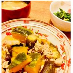 お鍋1つで、なす、かぼちゃ、豚肉の炒め煮