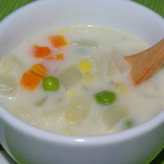 季節の野菜で豆乳スープ☆