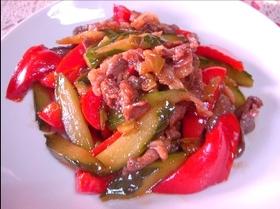 キュウリと牛肉の中華風炒め煮