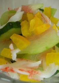 スイカきゅうりの浅漬とカニカマの醤油マヨ