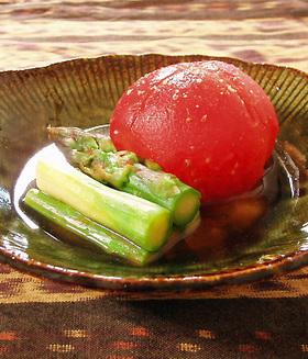 冷製 トマト&アスパラの わさび醤油だし