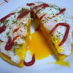 野菜ジュースでホットケーキ。