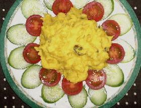 彩り鮮やか! かぼちゃとポテトのサラダ