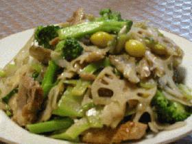 レンコンとブロッコリーの中華塩味炒め