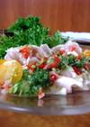 【和風】鶏胸肉のカルパッチョ・胡瓜ソース