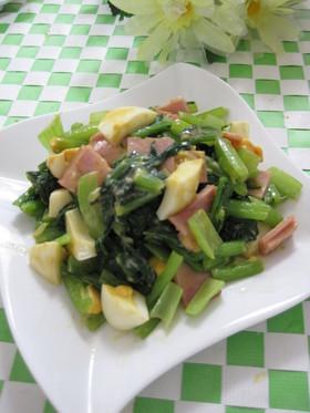 小松菜とゆで卵の和え物