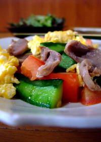 【旨】砂肝とトマト・胡瓜の中華炒め