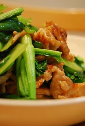 小松菜と豚肉のしょうゆ炒め。