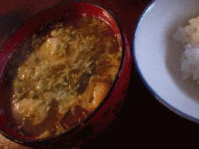生昆布とふきのとうのお味噌汁
