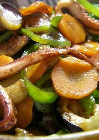 イカと夏野菜の紹興酒炒め