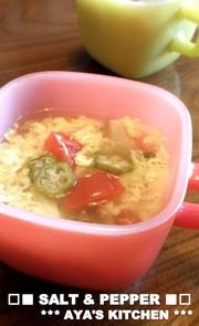 *サッパリ酢で★オクラとトマトのスープ*の写真
