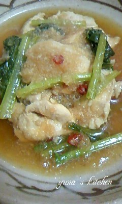 鶏胸肉と小松菜のしっとりみぞれ炊き♪