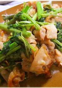 *空芯菜と豚バラ肉の生姜醤油炒め*